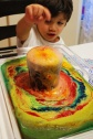 Volcanic eruptions and colorful lava experiment